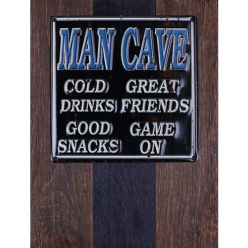 """20"""" H x 15"""" W prêt à accrocher «Man Cave» par Sam O. Words et Messages mixtes métal Art Décor"""