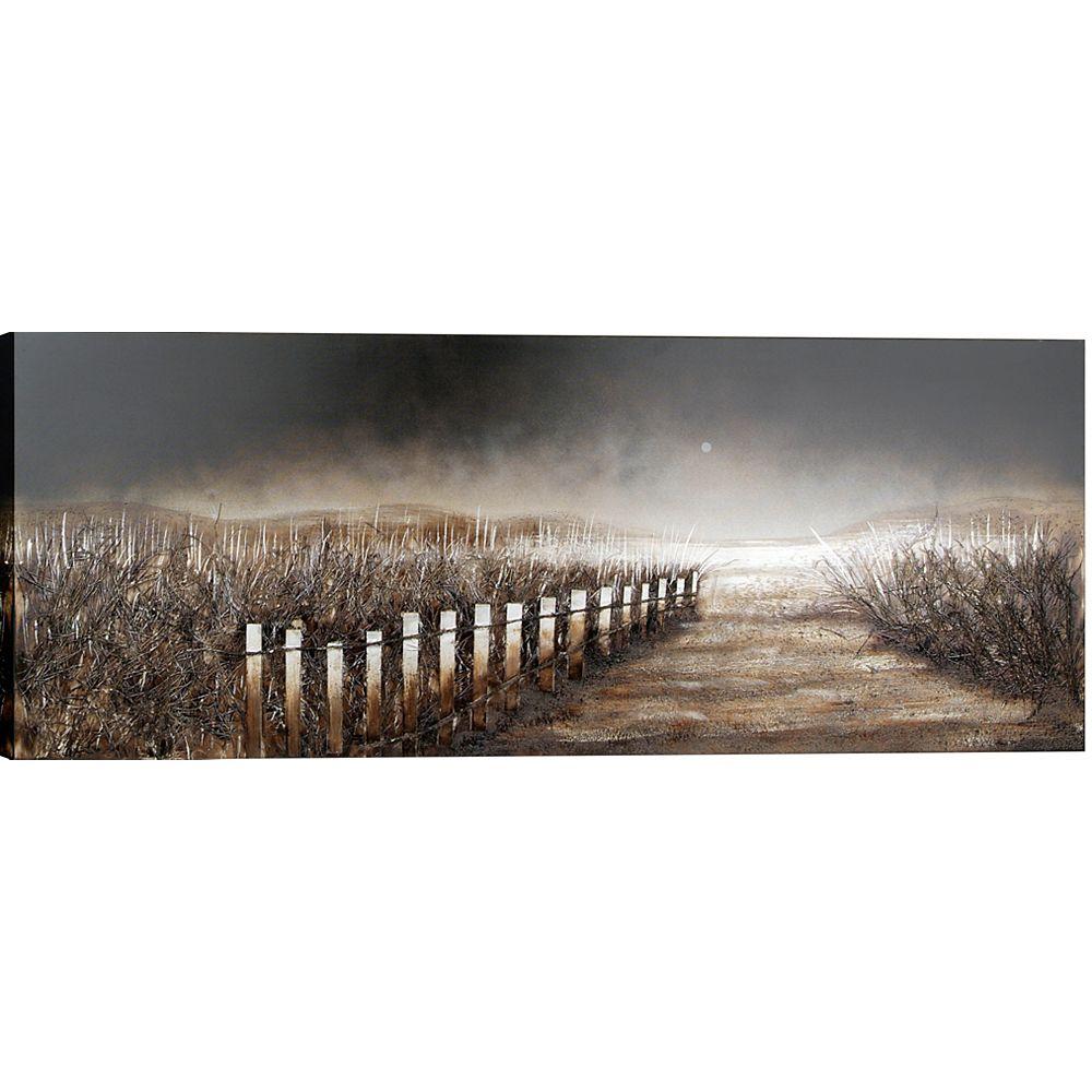 """Art Maison Canada H 23.6"""" x 59"""" W prêt à accrocher, main peinte Lanfscape «Barrière» Wall Art sur toile enveloppé"""