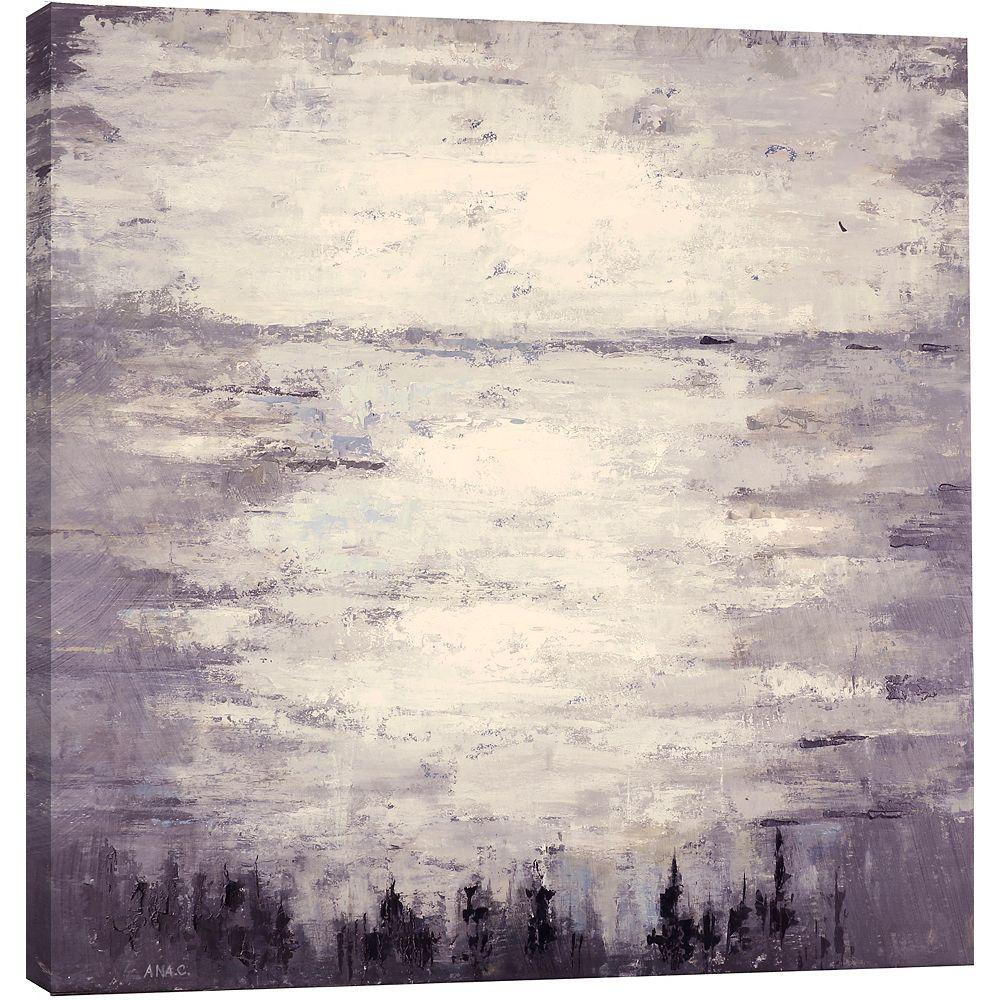 """Art Maison Canada H 40"""" x 40"""" W main peint toile «Lac dans laprès-midi» par C. Anastasia"""