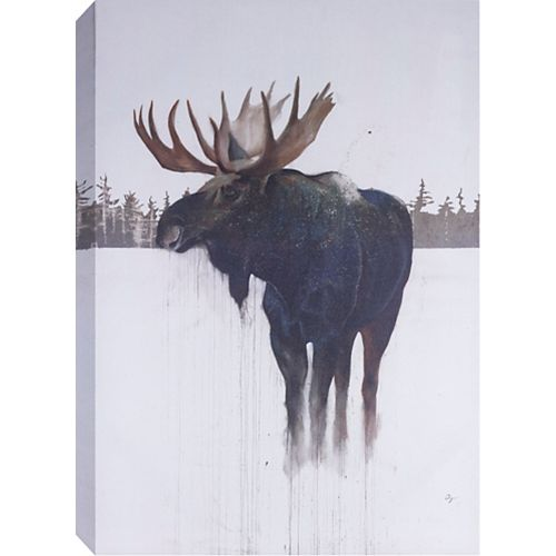 "48"" H x32"" W 'Golden Moose' by Daniel St Amant, Wildlife Wall Art on Wrapped Canvas"