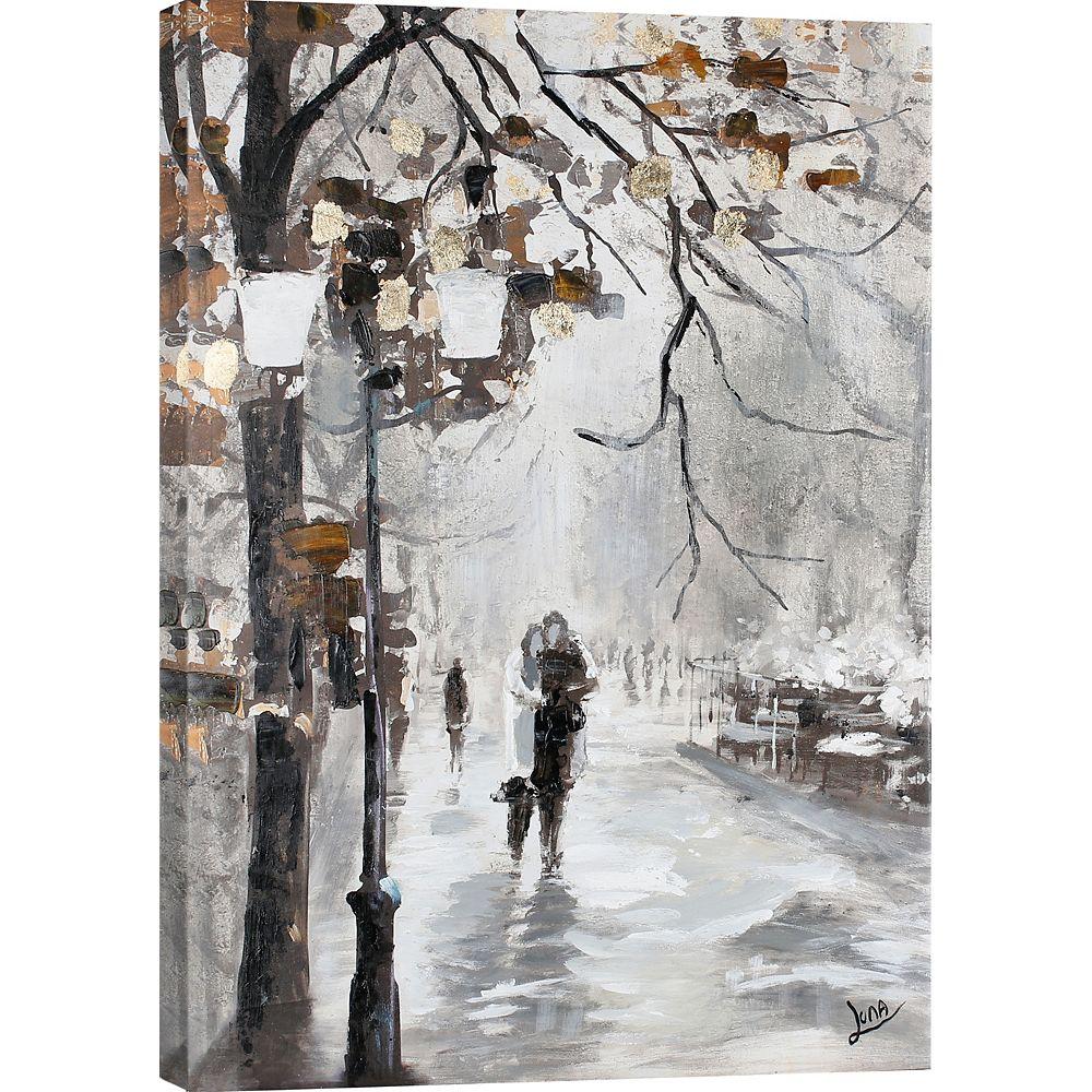 """Art Maison Canada 39,5"""" H x 29.5"""" W prêt à accrocher, main Haletée toile «Voie de lamour» par Luna M."""