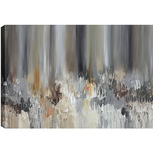 Brown Pond Abstract, Gallary Wrapped Canvas Wall Art 24X48