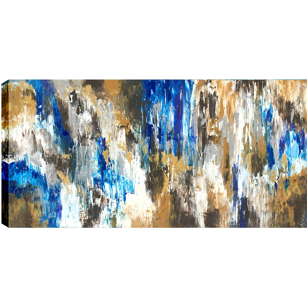 Art Maison Canada Blue Forest Abstract, Gallary Wrapped Canvas Wall Art 34X46