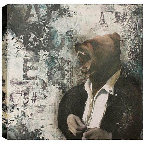Bear Head, Abstract, Canvas Print Wall Art 24X24