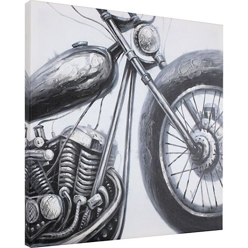 Black and White Bike Painting Print on Wrapped Canvas
