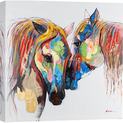 Art graphique sur toile enveloppé de chevaux de couleur
