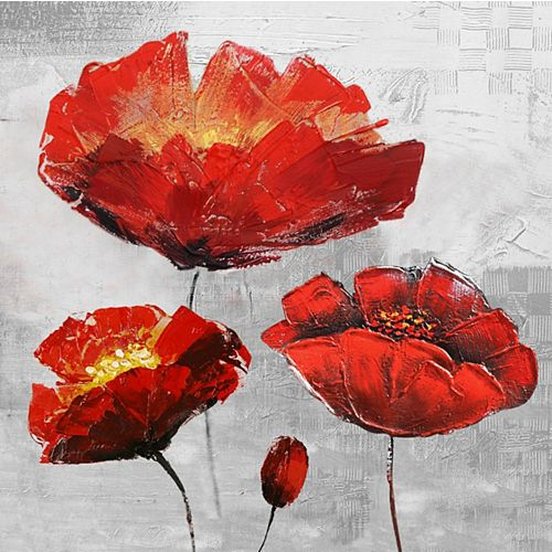 Red Floral I Painting Print on Wrapped Canvas