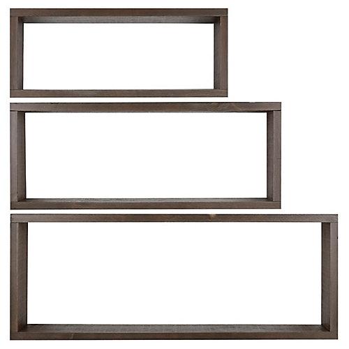 3 étagères en bois (12 X 36, 10 X 30 & 8 X 24)