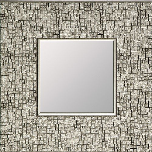 Mosaic Silver Accent Mirror Square 11.25X11.25 (Inner mirror 6X6), (Set of 4)