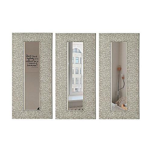 Rétrécir Designer Accent miroir 9.25X27.75 (intérieure miroir 4X22.5), ensemble de 3