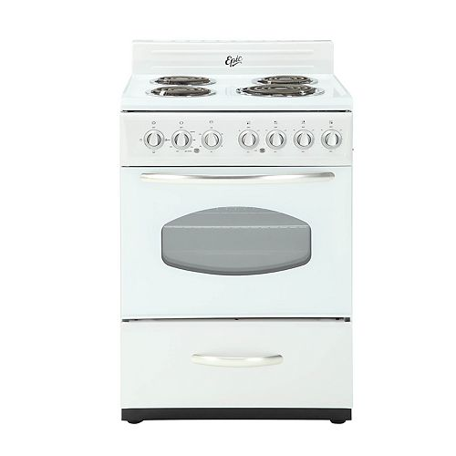 24 Inch Retro Style Electric Range in White