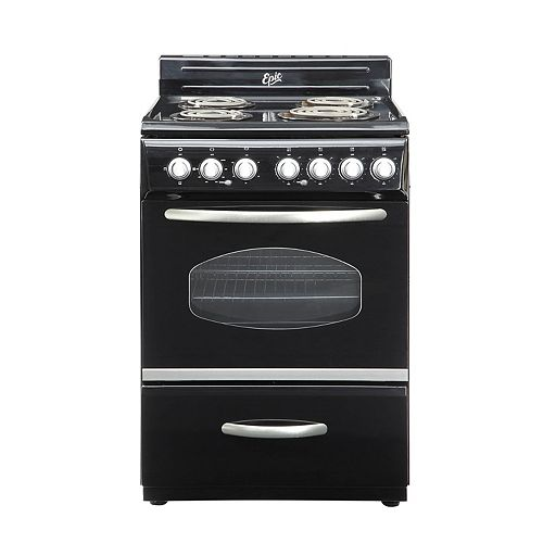24 Inch Retro Style Electric Range in Black