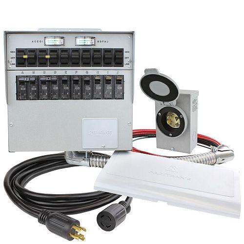 30 Amp 7500W 10-Circuit Indoor Transfer Switch Kit
