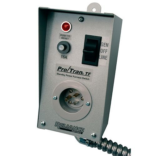 Commutateur de transfert TF151W de Reliance Controls  pour alimenter 1 circuit de 15A