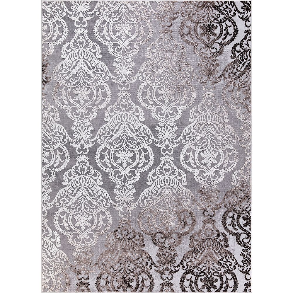 Merinos Damask Grey 5 ft. 3-inch x 7 ft. 4.5-inch Contemporary Rectangular Area Rug