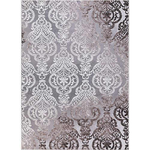 Carpette, 7 pi 10,5 po x 9 pi 11,5 po, style contemporain, rectangulaire, gris Damask