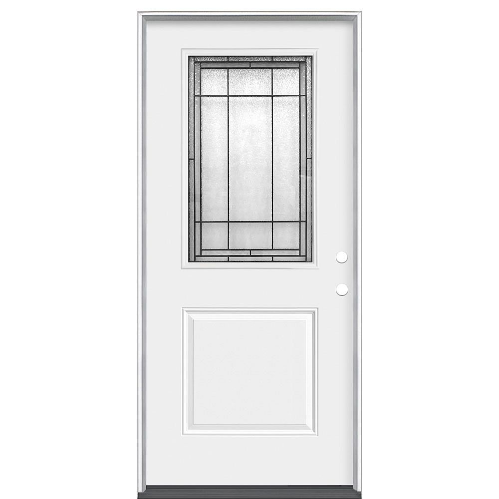 Masonite Brant 32-inch x 80-inch x 4 9/16-inch 1/2 Lite Left Hand Heavy Duty Steel Entry Door (Energy Star)