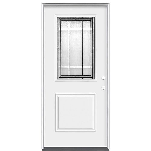 Brant 32-inch x 80-inch x 4 9/16-inch 1/2 Lite Left Hand Heavy Duty Steel Entry Door (Energy Star)