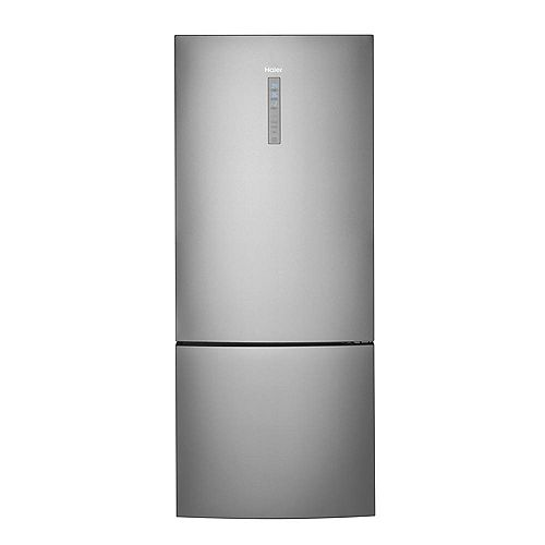 Haier 28-inch W 15.0 cu. ft. Bottom Freezer Refrigerator in Stainless Steel, Counter Depth