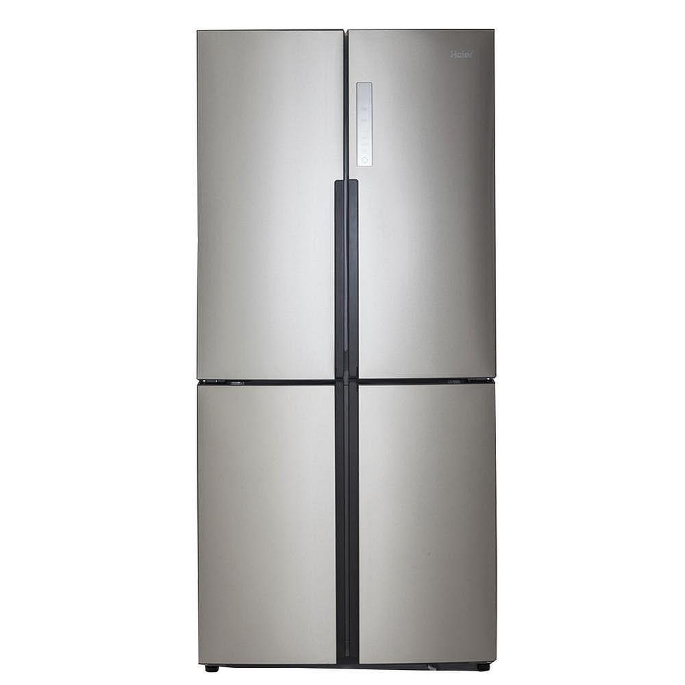 Haier Réfrigérateur à congélateur inférieur à porte française quadruple en acier inoxydable de 33 po de largeur et de 16,4 pi³, profondeur du comptoir