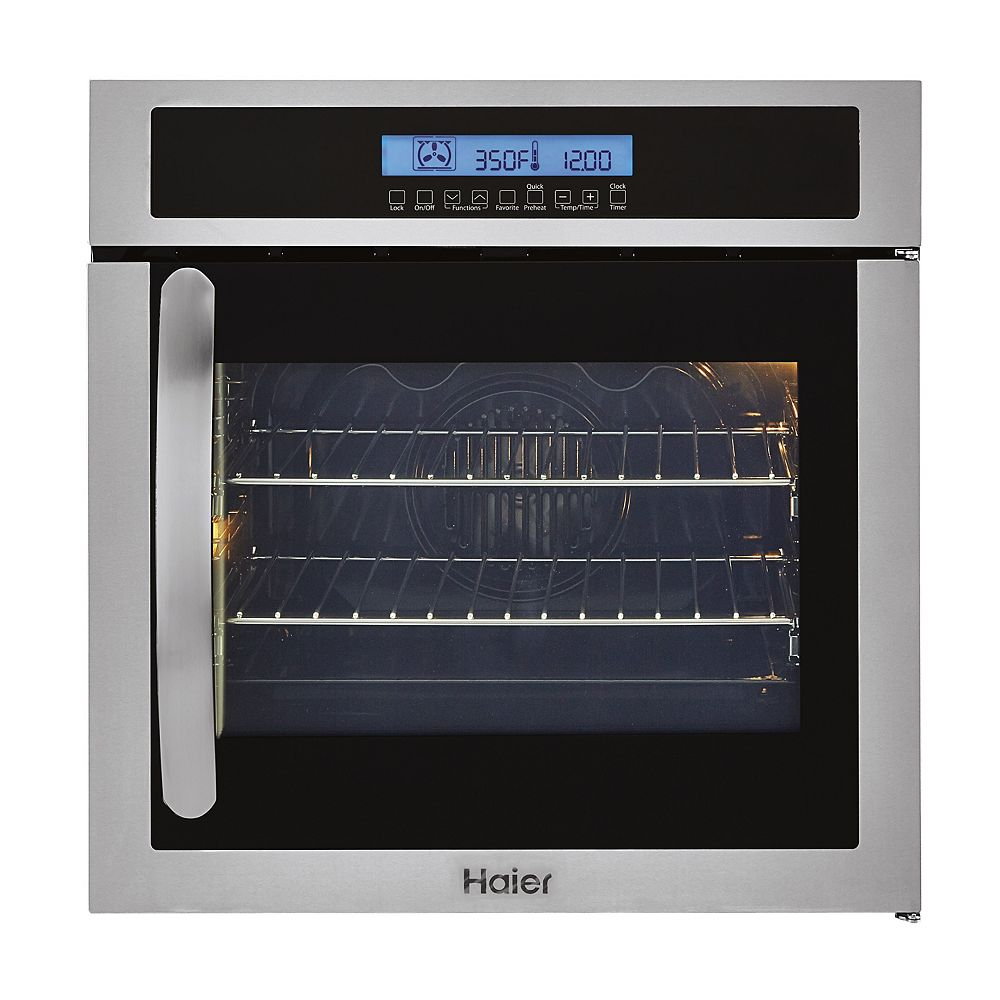 Haier 24-inch W Single Electric Right-Swing Door Wall Oven with Convection in Stainless Steel