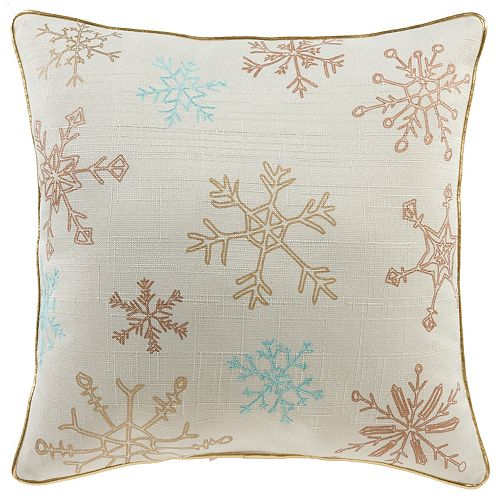 Home Accents 18 -inch x 18 -inch Metallic Snowflakes Holiday Pillow