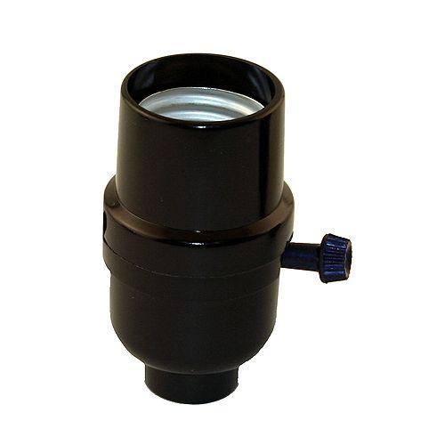 Atron Medium Base Socket, Turn Knob Socket, Black Phenolic