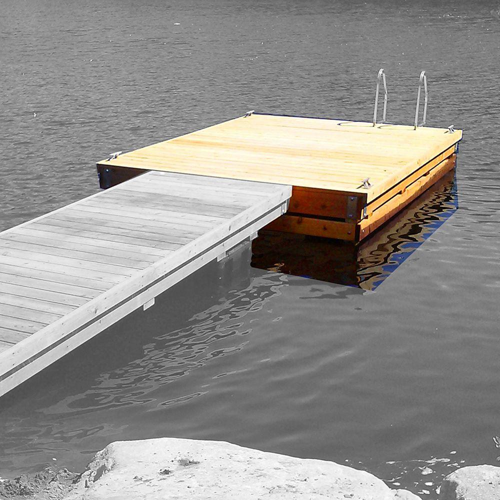 Multinautic Kit Quai flottant robuste en bois, Haut Franc Bord