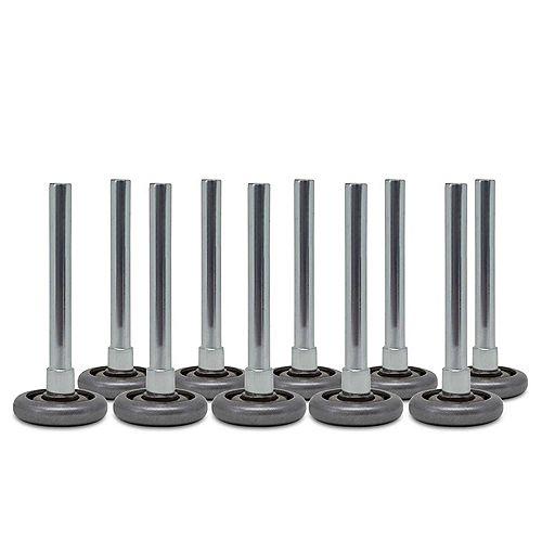 """Roulettes pour porte de garage - Roues de 2"""" en acier, paliers de pivotement à 10 billes et tige de 4"""" (10 unités)"""