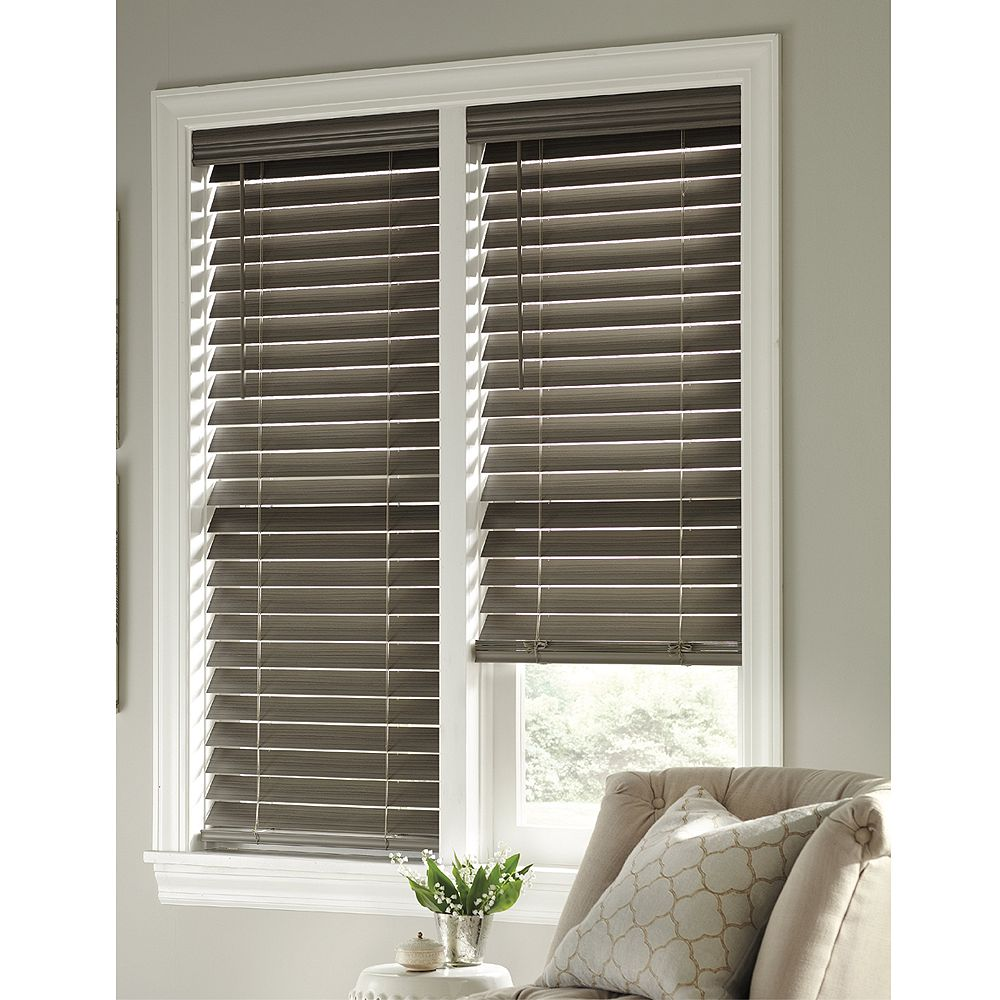 Home Decorators Collection 48 Inch X 48 Inch Cordless 2 5 Inch Faux Wood Slat Blind In Gre The Home Depot Canada