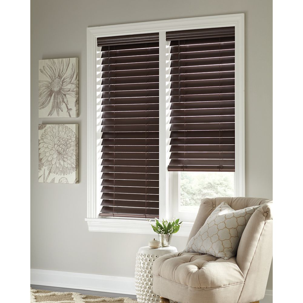 Home Decorators Collection 2 5 Inch Cordless Faux Wood Blind Espresso 48 Inch X 48 Inch A The Home Depot Canada