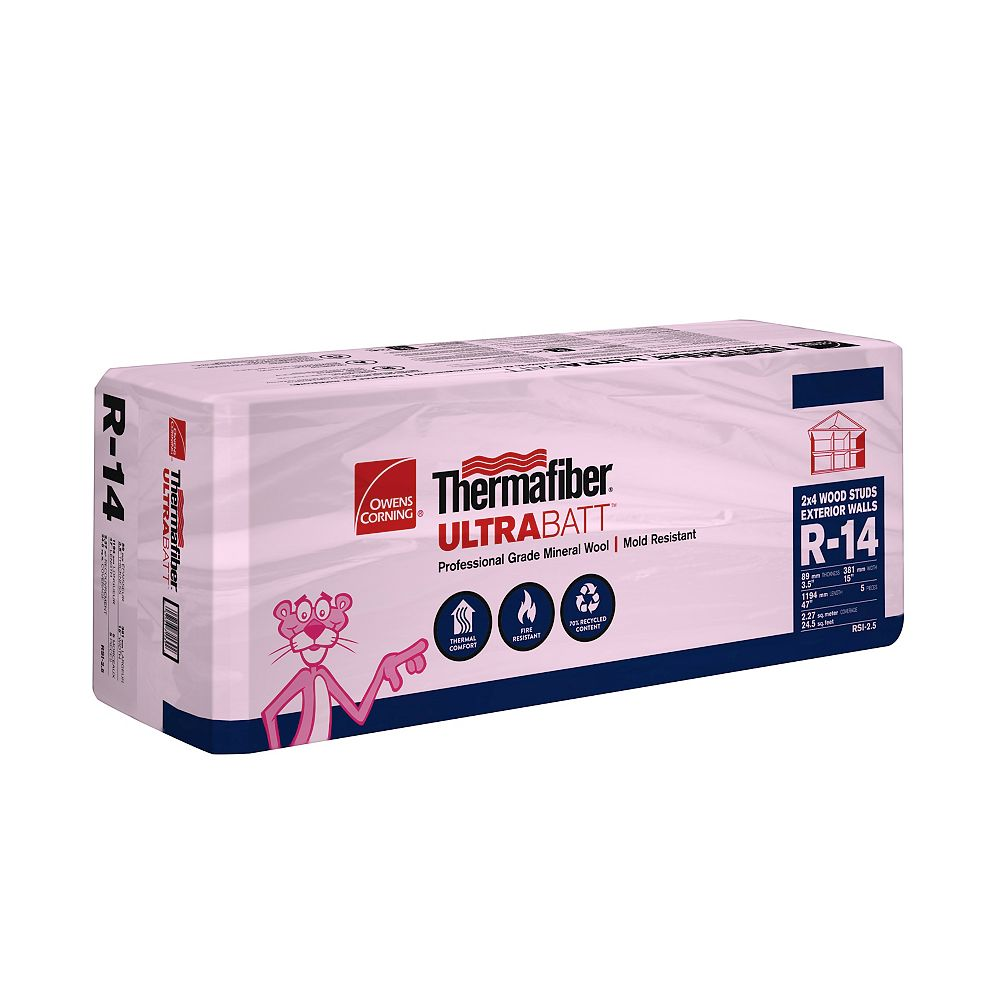 Thermafiber R-14 UltraBatt Mineral Wool Batt Insulation - For Wood Stud 3.5 Inch x 15 Inch x 47 Inch