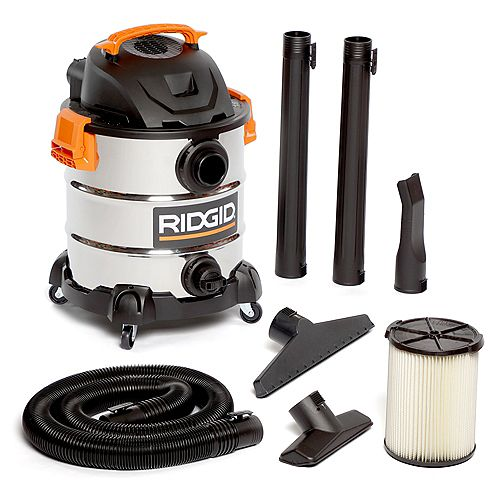 RIDGID 37.5L (10 gal.) 6.0 Peak HP Stainless Steel Wet Dry Vacuum