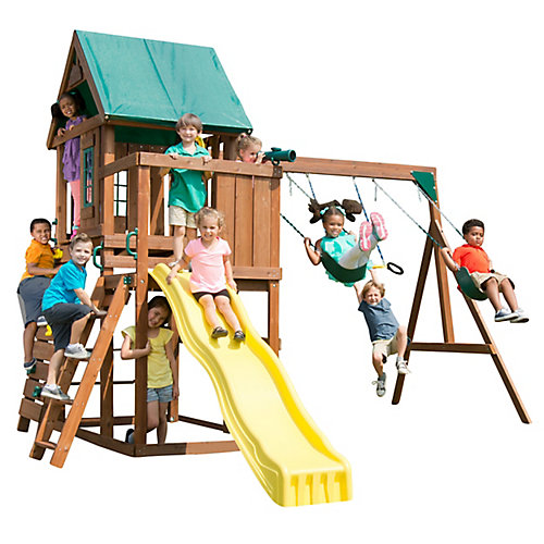 Altamont Complete Wood Playset with Swings, Trapeze, Rings, Climbing Wall, Slide, and Picnic Table