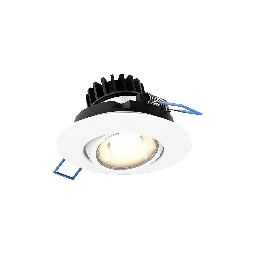 Illume 3-inch LED Round Gimbal Recessed Light in White Finish, 360° rotation - ENERGY STAR®