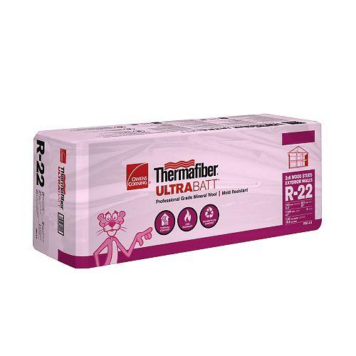 Isolant thermique Thermafiber<sup>®</sup> UltraBatt en laine minérale en matelas R-22 - Pour ossatures de bois de 5,5 po x 15 po x 47 po