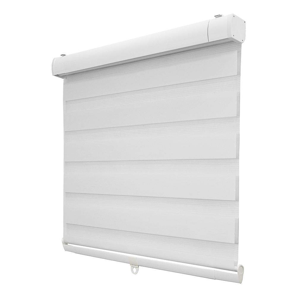 Home Decorators Collection 46-inch x 72-inch White Zebra Layered Cordless Roller Shades