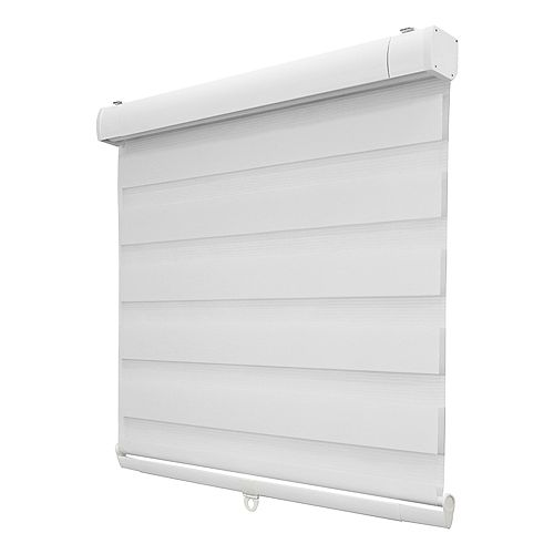 46-inch x 72-inch White Zebra Layered Cordless Roller Shades