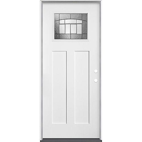Masonite Porte d'entrée gauche en fibre de verre lisse de 34 pouces x 80 pouces x 49/16 pouces de Croxley Craftsman - ENERGY STAR
