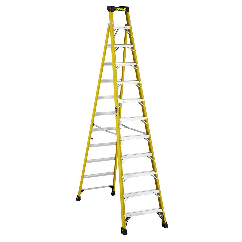 Featherlite 12  Feet fibreglass Cross Step Ladder with 300 lb. Load Capacity Type IA Duty Rating