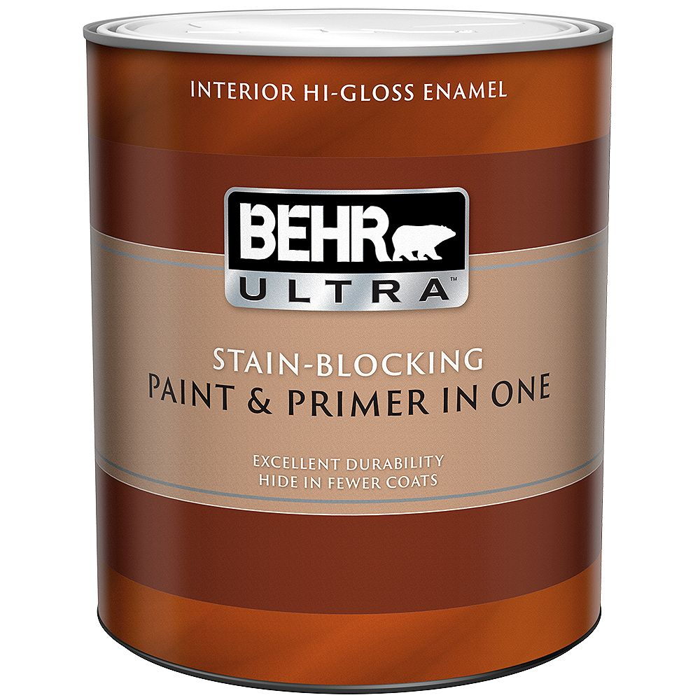 BEHR ULTRA Interior Highi-Gloss Enamel Paint & Primer in One - Ultra Pure White, 946L