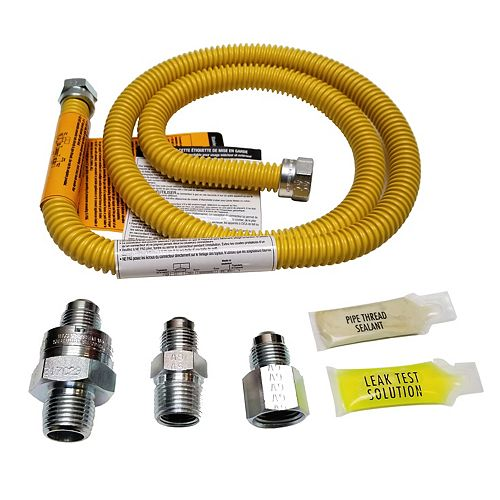 1/2 inch OD, 3/8 inch ID, SS Connector, 1/2 inch MIP EFV & TS, 24 inch Length, Yellow Coated