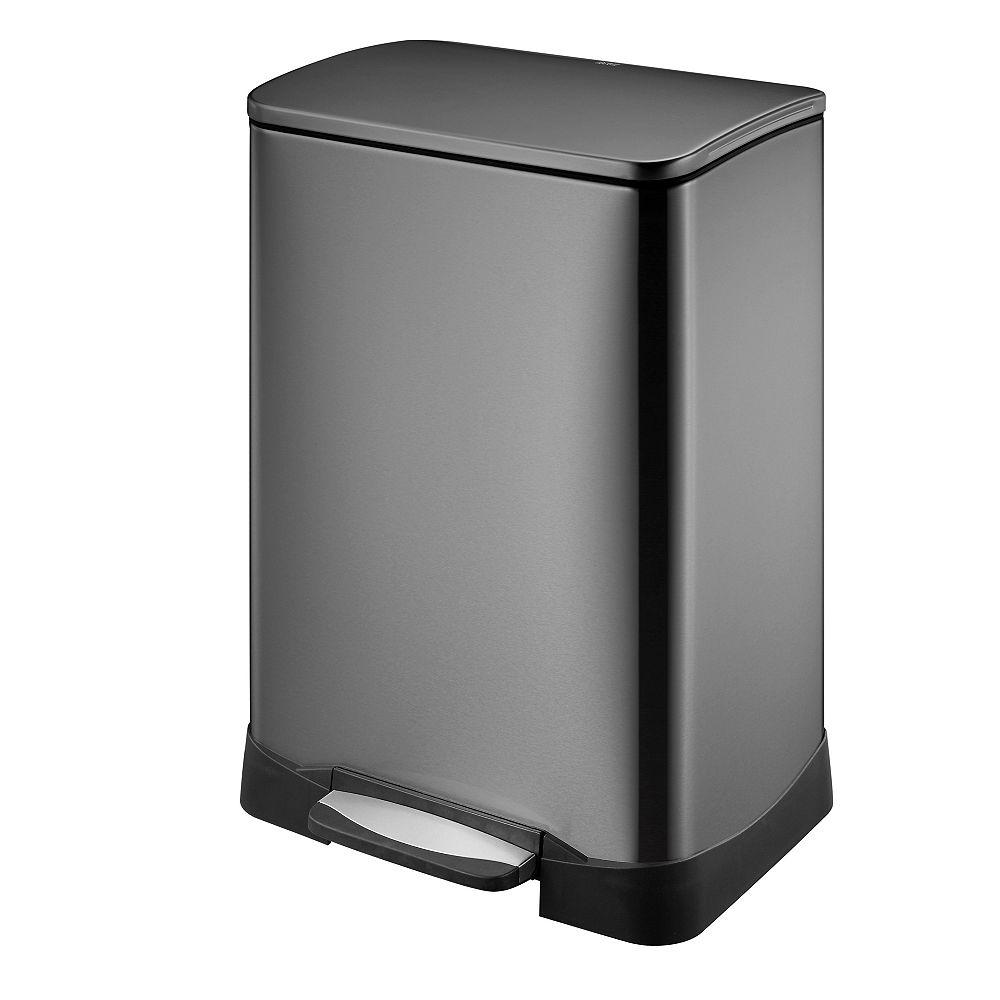 HDX Poubelle à pédale de 50L en acier inoxydable noir