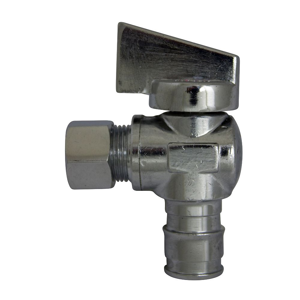 Waterline Chrome-Plated Angle 1/4 Turn Stop Valve - 1/2 inch Cold Expansion Pex X 3/8 inch Od Compression