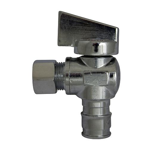 Chrome-Plated Angle 1/4 Turn Stop Valve - 1/2 inch Cold Expansion Pex X 3/8 inch Od Compression