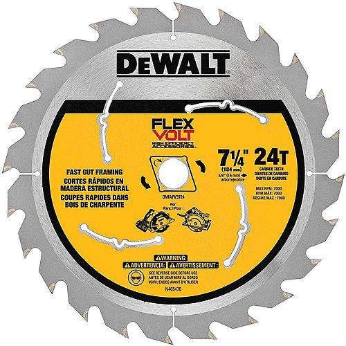 """Lame de scie circulaire au carbure FLEXVOLT 7-1/4"""" 24 dents de scie"""