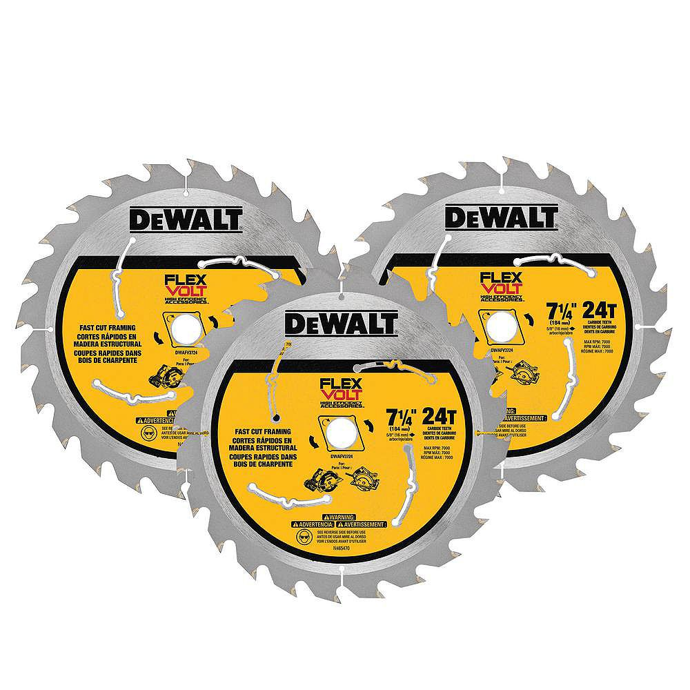 DEWALT FLEXVOLT 7-1/4-inch 24-Teeth Carbide-Tipped Circular Saw Blade (3-Pack)
