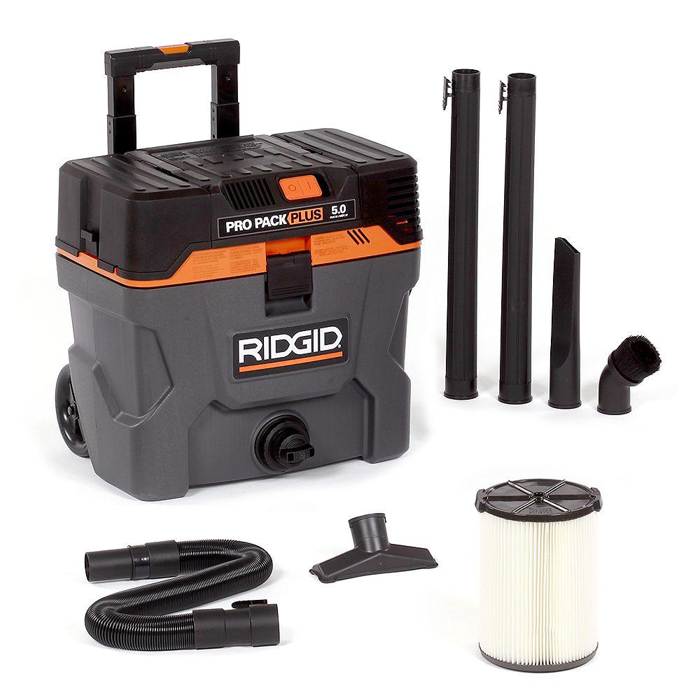 RIDGID Pro Pack Plus 37.5 L (10 Gal.) Portable 5 HP Wet/Dry Vacuum