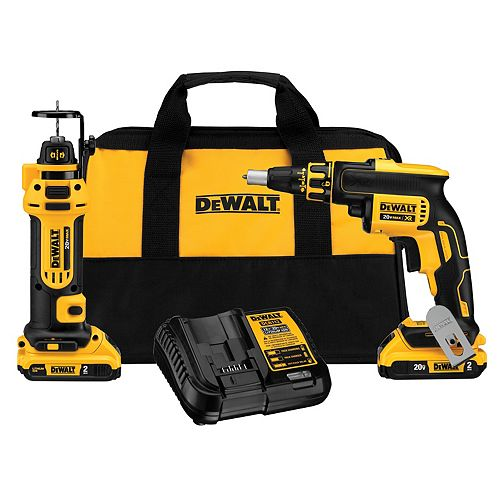 DEWALT 20V MAX XR Lithium-Ion Cordless Drywall Screwgun/Cut-out Tool Combo Kit (2-Tool) with (2) Batteries 2Ah and Charger