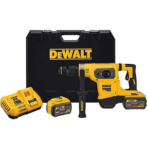 DEWALT 60V MAX FLEXVOLT Lithium-Ion Cordless Brushless 1-9/16-inch SDS-Plus Combination Rotary Hammer Kit with (2) 9Ah Batteries, Charger and Case